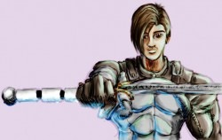 Early rendering of Trestan, and the sword